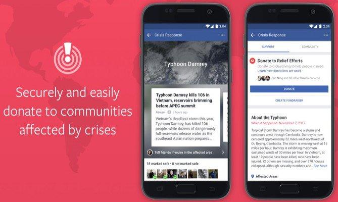 Facebook felaket bağışlarını başlattı